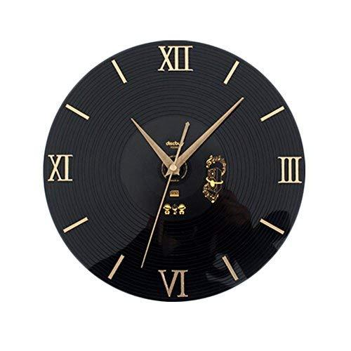 Panda Superstore Elegant Retro Black Plastic CD Wall Clock Fashion Home Decorati