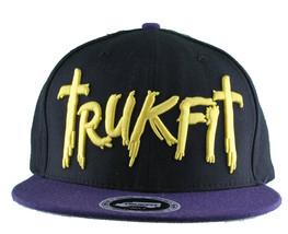 Trukfit Mens Black Purple Yellow Galaxy Baseball Strapback Hat Cap T1208H09 NWT image 1