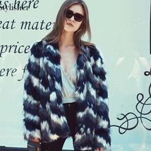 Women's Multicolor Luxury Designer Brand Fashion Faux Fur Coat image 5
