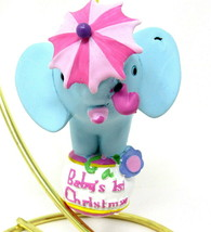 Baby's 1st Christmas Ornament Elephant with Umbrella on Ball Ceramic Pac... - $22.76