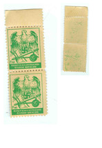 TWO SCARCE GREEN GERMAN NAZI HEALTH RECEIPT X RAY STAMPS - FREI - $34.99