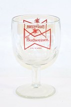 Budweiser Beer Thumbprint Glass Red Bow Tie Goblet Chalice Heavy Glass - $11.88