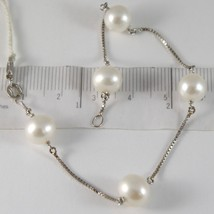 BRACELET WHITE GOLD 750 18K, WHITE PEARLS DIAMETER 8-9 MM, CHAIN VENETIAN - $372.68