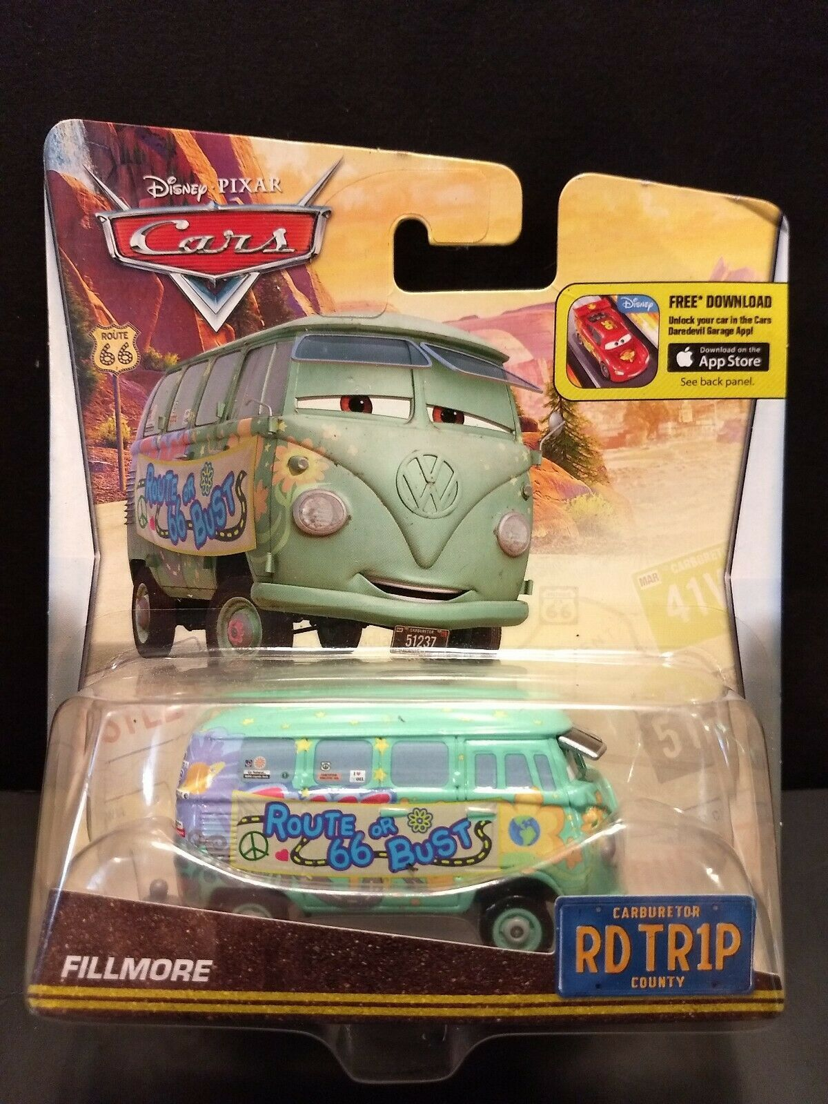 Sealed 2015 Mattel Pixar Disney Cars Fillmore Road Trip toy van Route 66 or Bust