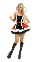 ENCHANTED QUEEN OF HEARTS DRESS ADULT HALLOWEEN SMALL - $56.57
