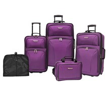5-Piece Purple Wheeled Luggage Set Carry On Tote Garment Bag Travel Gift... - $247.00