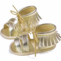 NEW Baby Girl Gold Fringe Sandals Crib Shoes Size 1 2 3 - $5.99