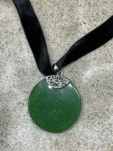 Vintage Green Jade Deco Choker Silver Bronze Necklace - $64.35