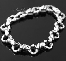 Mens Sterling Silver Bracelet Handcrafted Joint Link Hip Hop Biker Beach... - $302.35