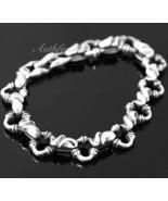 Mens Sterling Silver Bracelet Handcrafted Joint Link Hip Hop Biker Beach... - $302.35
