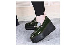 Women Thick Platform Shoes Patent Leather Loafer Footwear Green US5.5 / ... - $38.00