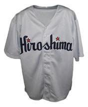 Custom Name # Hiroshima Carp Retro Baseball Jersey Button Down Grey Any Size image 3