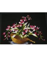 Silk Floral Orchid Oncidium Hmong Hand Embroidery Masterpiece Art Framed... - $569.99