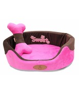 """JustNile 19"""" Brown and Pink Soft Pet Dog Bed with Bone Pillow and Blanket - $36.95"""
