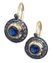 Victorian 0.70ct Rose Cut Diamond Blue Sapphire Wedding Earrings Vintage... - $344.19