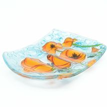Fused Art Glass Orange Poppy Poppies Flower Design Soap Dish Handmade Ecuador image 3