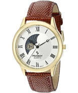 Peugeot Men's 14K Gold Plated Decorative Sun Moon Phase Roman Numeral Brown - $143.05