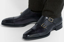 Handmade Men's Black Two Tone Brogues Double Monk Strap Leather Shoes image 1