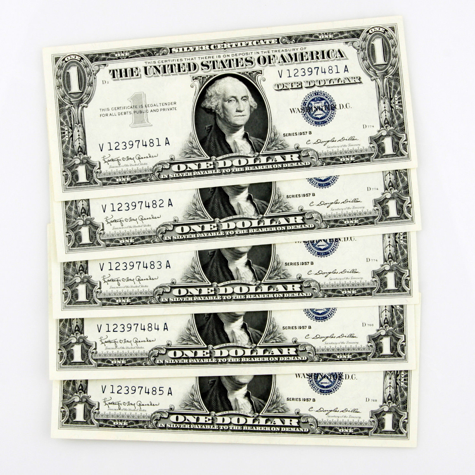 1957 B $1 SILVER CERTIFICATE 5 CONSECUTIVE NOTES V12397481A-V12397485A