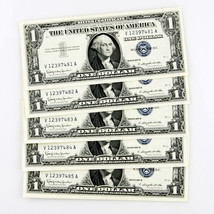 1957 B $1 SILVER CERTIFICATE 5 CONSECUTIVE NOTES V12397481A-V12397485A - $69.29