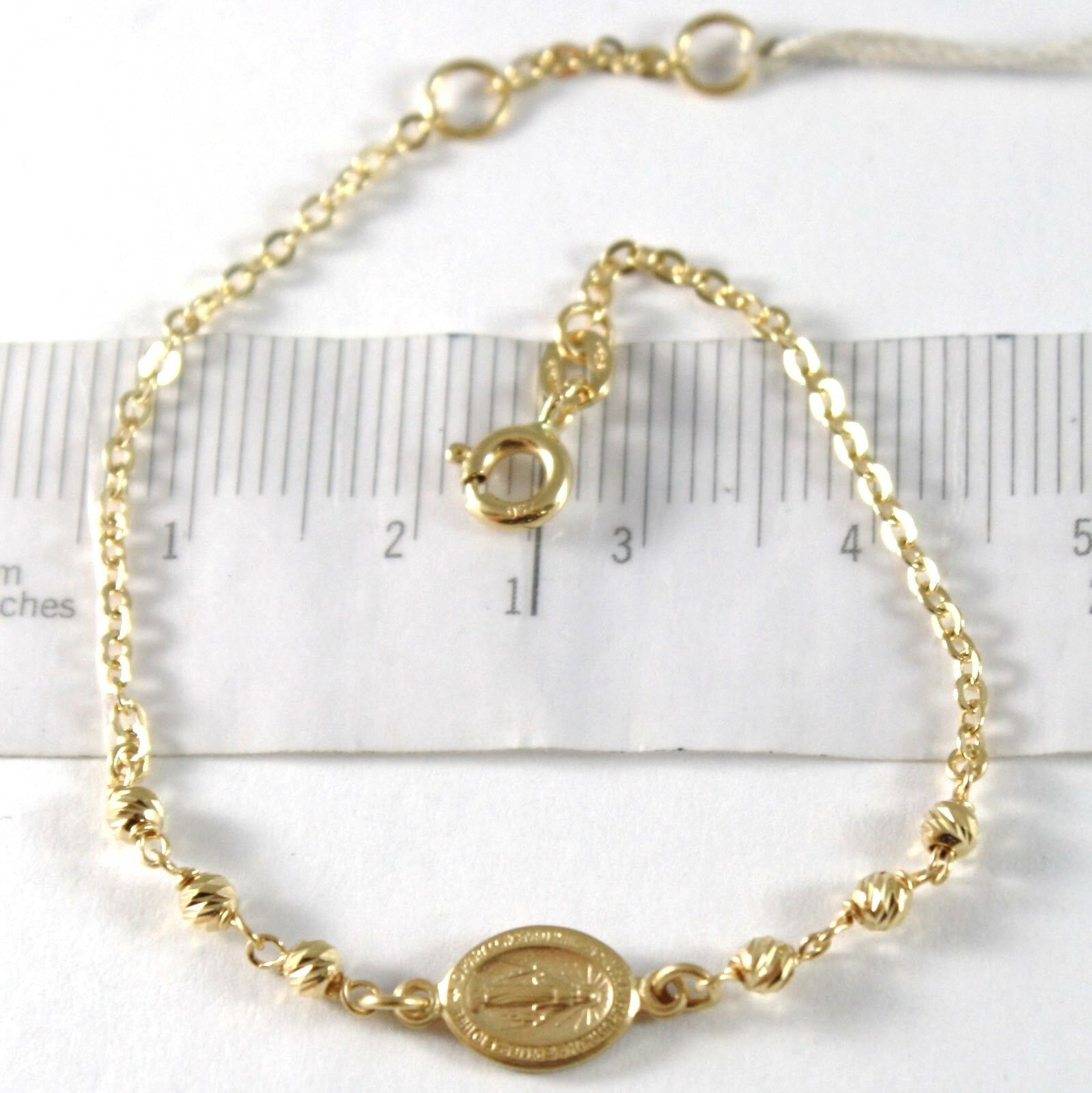 Yellow Gold Bracelet 750 18k, ROLO, Balls Faceted Miraculous Medal