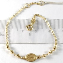 Yellow Gold Bracelet 750 18k, ROLO, Balls Faceted Miraculous Medal image 1