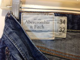 Abercrombie & Fitch Men's Fashionably Ripped Blue Jeans Sz 34/32 image 5