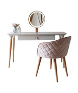 2-Piece Vanity Dressing Table & Kari Accent Chair Set in Off White & Pink - $575.00