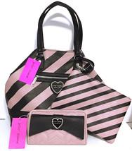 BETSEY JOHNSON Handbag Tote Wristlet & Wallet Blush Pink Black Purse Set... - $97.02
