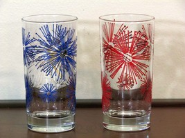Vintage MCM Starburst Drinking Glasses Red Blue Gold Pair - $24.99