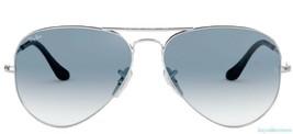Ray Ban 3026 003/32 Aviator Silver Frame Gradient Lenses Sunglasses 62mm  - $79.33