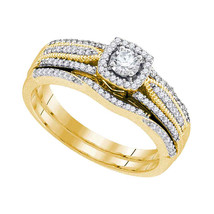 10k Yellow Gold Round Diamond Bridal Wedding Engagement Ring Band Set 3/8 Cttw - $799.00