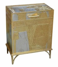 Silver and Gold Abstract Chest on Stand Trunk Storage - $425.83