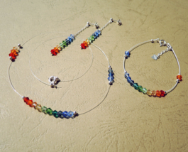 Rainbow Crystal Invisible Necklace, Adjustable Bracelet, Dangle Earrings... - $57.00