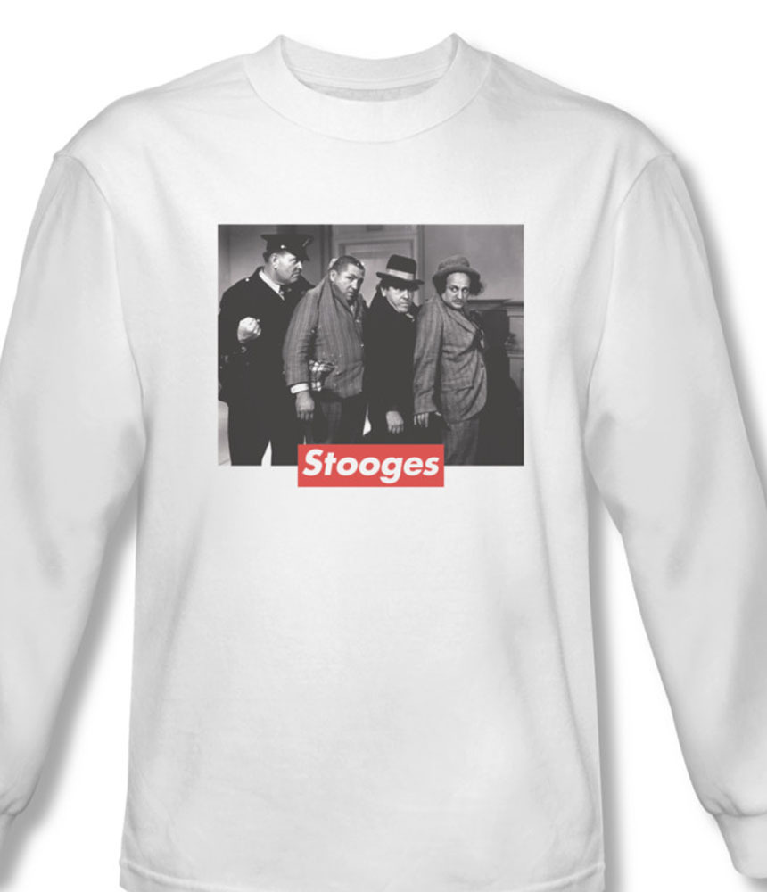 The three stooges comedy long sleeve larry curly moe for sale online graphic tee white tts156 al