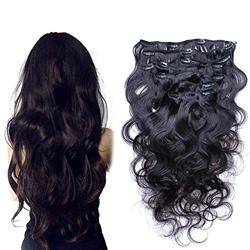 Body Wave Clip in Human Hair Extension Brazilian Remy Clip on Hair Extension Nat - $68.31