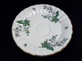 Royal Worcester Valencia bone china saucer white gray flowers gold rim - $9.70