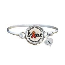 Custom Multiple Sclerosis Awareness Believe Silver Bracelet Jewelry Initial - $13.80+
