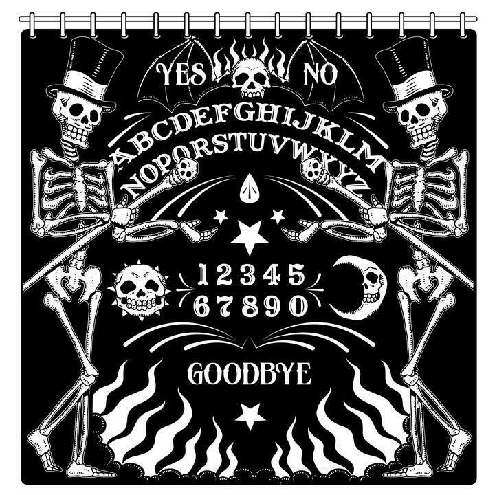 Too Fast Skeleton OUIJA Board Tattoo Gothic Punk Shower Curtain AHWSC-T-OUIJA image 3