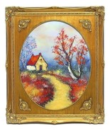 Stunning Vintage Enamel On Copper Painting House Stream David Karp -Son ... - $503.99