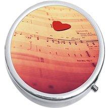 Sheet Music Notes Heart Medicine Vitamin Compact Pill Box - $9.78