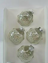 4 Vintage Rauch Christmas Ornaments Clear Glitter 32997 Greek Key - $29.69