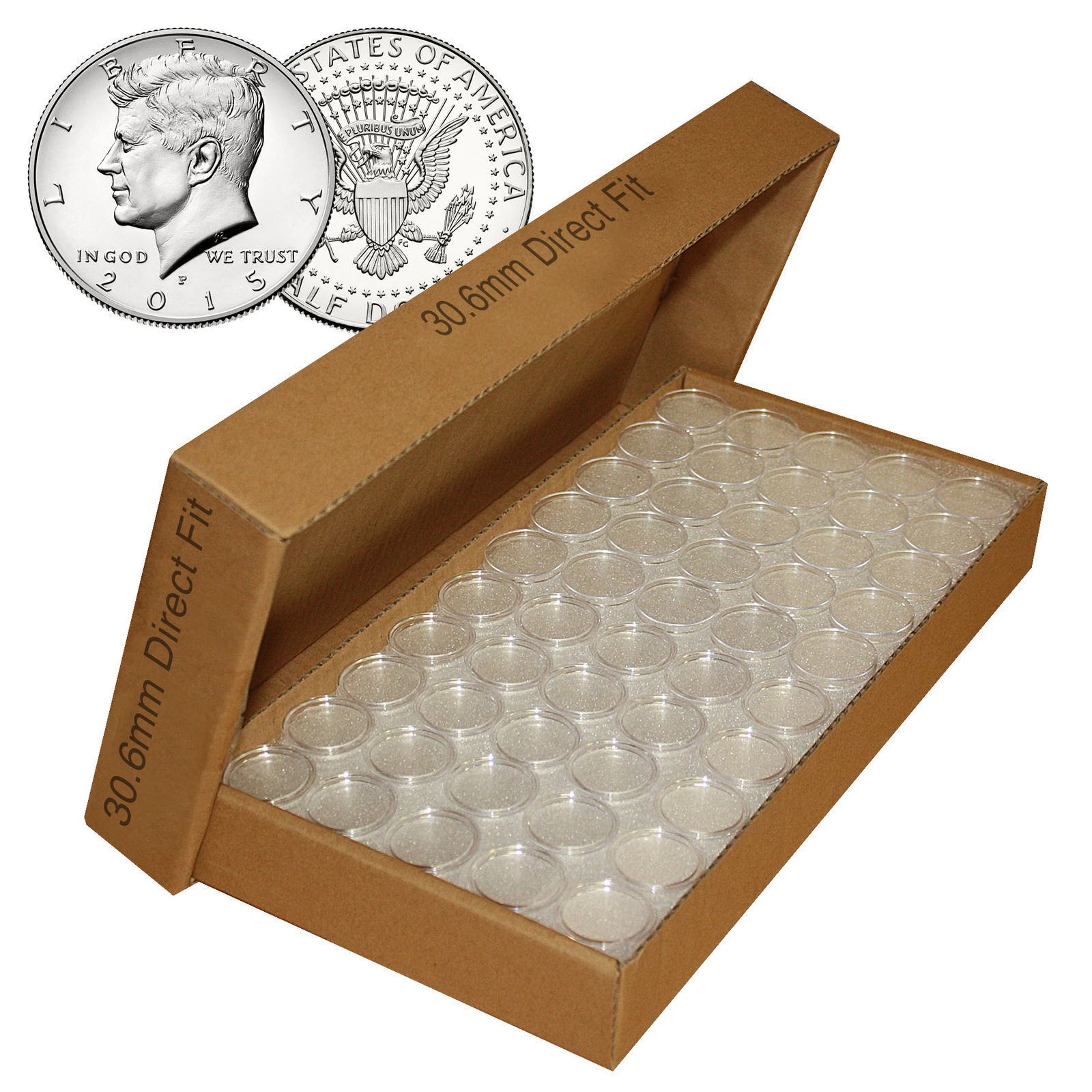 Primary image for 1000 Direct Fit Airtight 30.6mm Coin Holders Capsules For JFK HALF DOLLARS