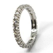 18K WHITE GOLD ETERNITY BAND RING, WHITE CUBIC ZIRCONIA, THICKNESS 3 MM image 2