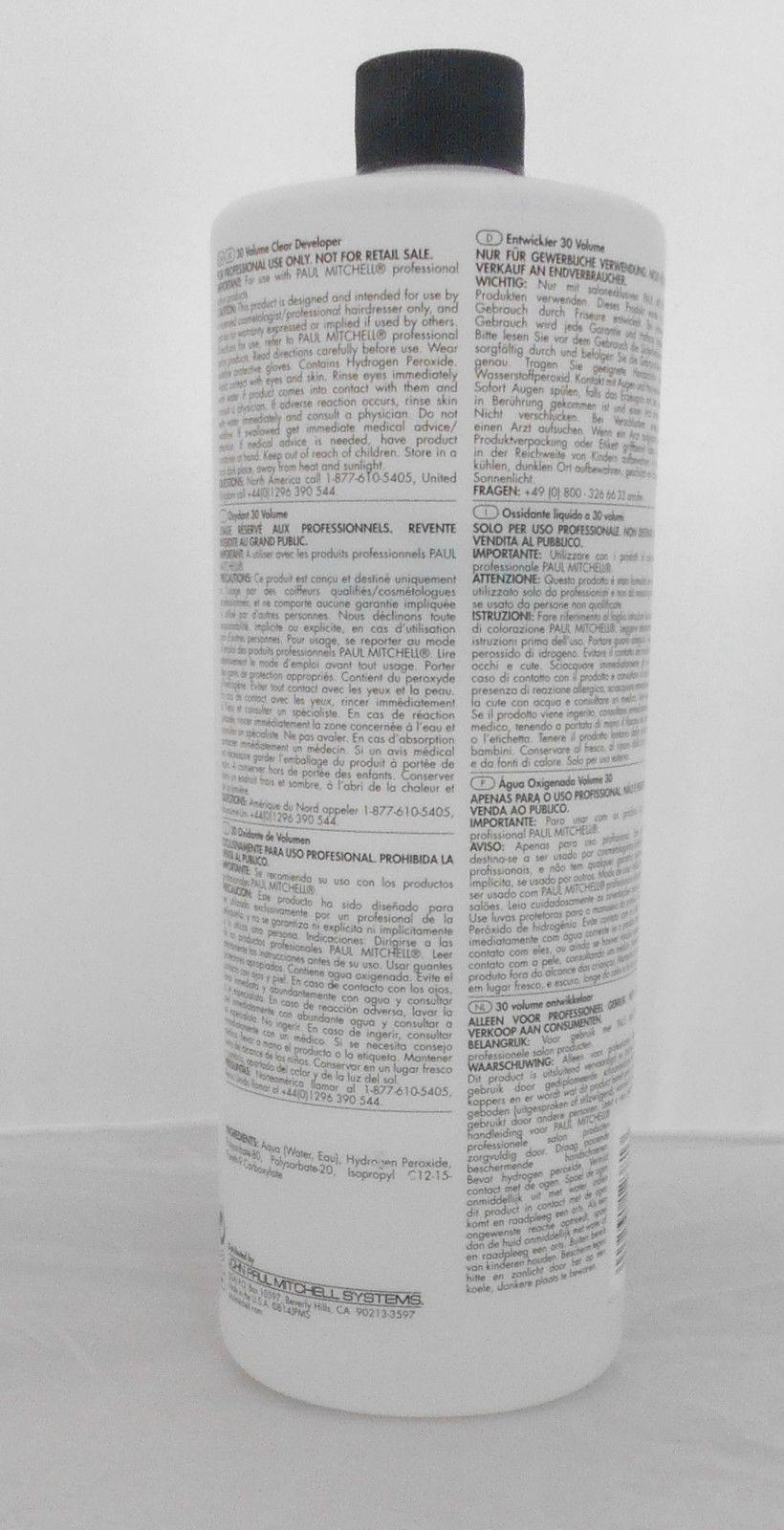 PAUL MITCHELL 30 Volume / 9 % Professional CLEAR Developer ~ 33.8 oz / Liter