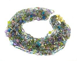 "JOAN RIVERS Blue Green Pink Multi Strand Torsade 40"" Beaded Necklace EUC - $25.99"
