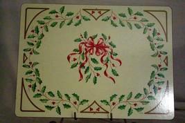 "Lenox Holiday Red Ribbon Cork Back Place Mat 15 3/4"" x 11 3/4"" - $11.08"