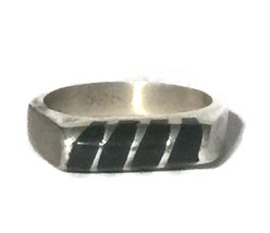 Vintage Black Onyx Sterling Silver Mexican Ring Band Size 7 Taxco  - €28,48 EUR