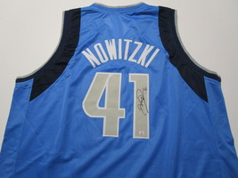 DIRK NOWITZKI / AUTOGRAPHED DALLAS MAVERICKS BLUE CUSTOM BASKETBALL JERSEY / COA image 1