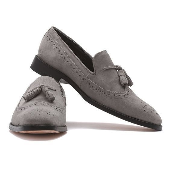 Handmade Men's Gray Suede Slip Ons Loafer Tassel Brogues Style Shoes